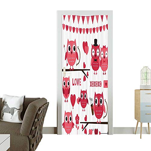 Homesonne 3D Photo Door Murals Owls with Romantic Elements Arrow Eyesight Partners in Amour Artful Easy to Clean and applyW31 x H79 INCH