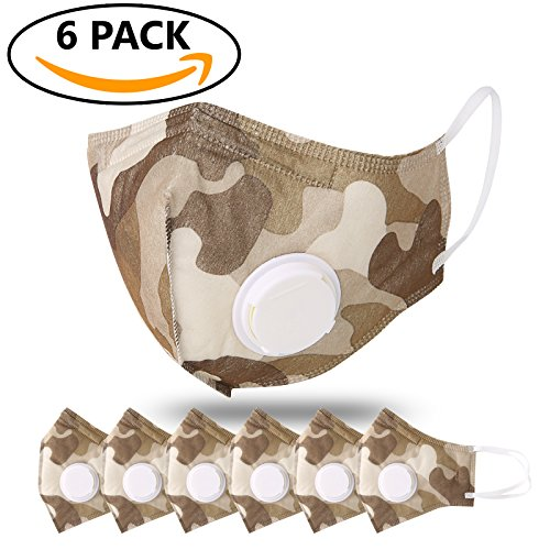 JayJay 6 Pack Dust Mouth Mask PM2.5 Non-Woven Fabric Filter Respirator with Valve,CAMOUFLAGEKHAKI - 2.5 Non