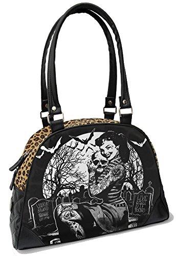 Liquorbrand Retro Girl in Graveyard Halloween Leopard Print Vegan Black (Halloween Purses)