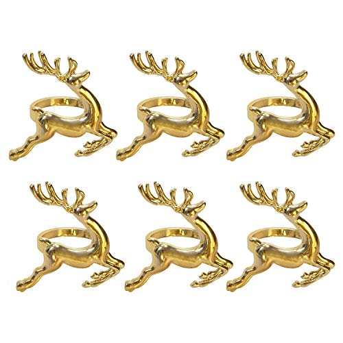 Lioong Christmas Reindeer Napkin Rings Golden(Set of 6) for Napkins Floding Christmas Thanksgiving Table Decoration