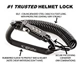 Motorcycle Helmet Lock & Cable. Sleek Black Tough Combination PIN Locking Carabiner Device Secures Your Motorbike, Bicycle or Scooter Crash Hat...
