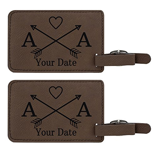 Personalized Luggage Tags Custom Initials & Date Arrows Personalized Travel Gifts for Travelers 2-pack Laser Engraved Leather Luggage Tags Brown