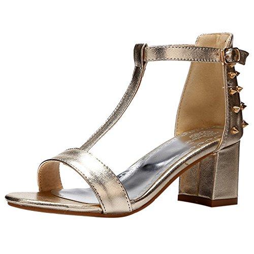 COOLCEPT Damen Mode T-Spangen Sandalen Open Toe Blockabsatz Schuhe Gold