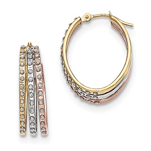 Solid 14k Gold Tri-Color Diamond Fascination Three Oval Hoop Earrings (18mm x 23mm) (Tri Gold Color Diamond)
