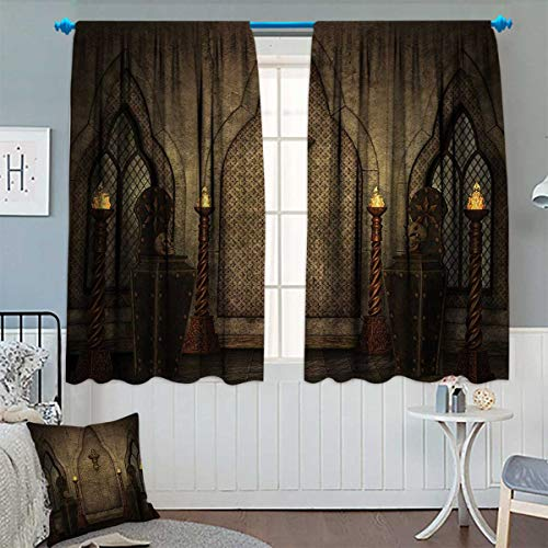 (Chaneyhouse Gothic Window Curtain Fabric Fantasy Scene with Old Fashioned Wooden Torch and Skull Candlesticks in Dark Spooky Room Drapes for Living Room 55