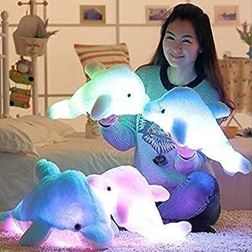 Woneart LED Light Up felpa Almohadas Niños Bebé Peluche Delfín Almohada Cojín Dolphin Juguetes blandos regalo Decoración (Blue)