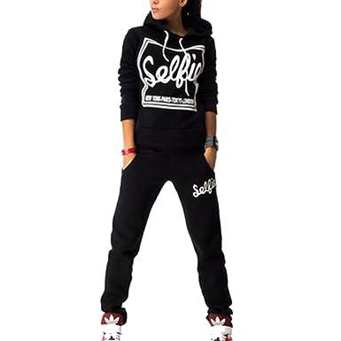 Sweatsuit Women Sports Long Sleeve Pullover Sweatshirt Hoodie SweatPants 2  Pieces Set Tracksuit Outfits 11821a4e5