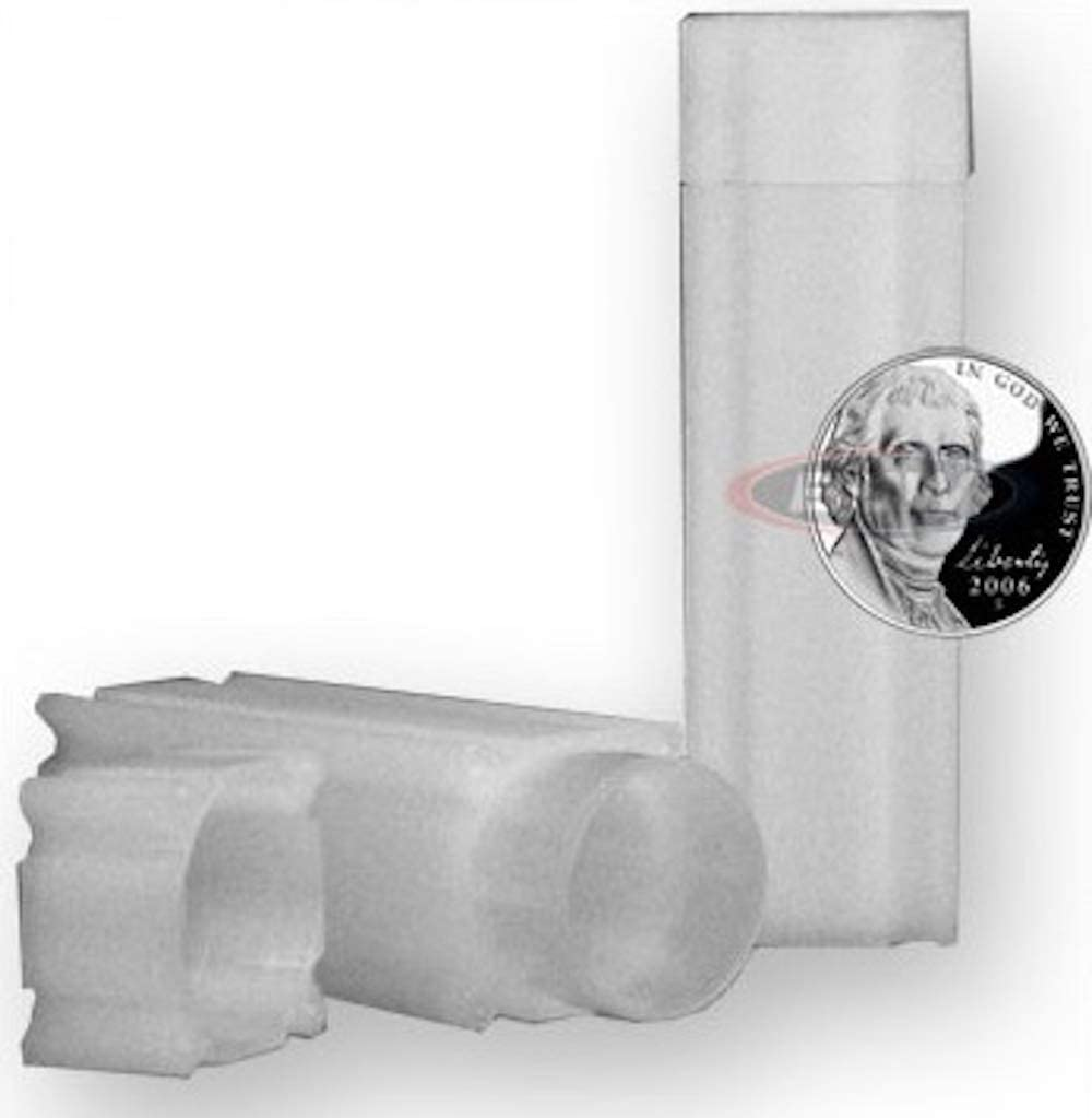 COIN SAFE 50 NICKEL SIZE SQUARE Coin Tubes in Heavy Duty Storage Box
