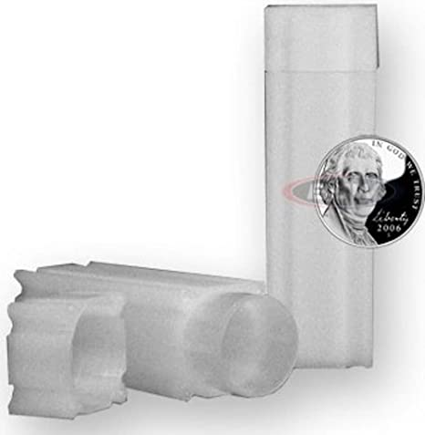 4 COINSAFE NICKEL SQUARE TUBE COIN CLEAR PLASTIC STORAGE HOLDERS