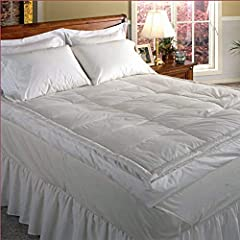 This extra-thick baffled featherbed is especially crafted for your comfort. The top layer is filled with fluffy White Duck down for comfort and the bottom layer is filled with feathers for support. Available in sizes from California King to t...