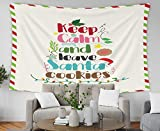 Musesh Follow Your Dream Quote Tapestry, 80x60 Inch Christmas Quote Keep Calm and Leave Santa Cookies,Tapestries Wall Hanging for Bedroom Living Room Decor Inhouse