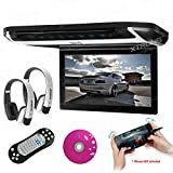 XTRONS 10'' HD Digital TFT Monitor Car Roof Flip Down Overhead DVD Player Touch Panel Game Disc HDMI Port White IR Headphones Included