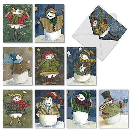 10 Assorted Snowman Friends Season's Greetings Cards with Envelopes (Small 4 x 5.12 Inch) - Holiday Cards for Christmas and New Year - Stationery with Snowmen in Winter Clothes M10001XS ()