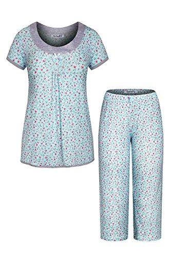 (SofiePJ Women's Rayon Printed Short Sleeve Capri Pants Pajama Set Aqua Pink M)