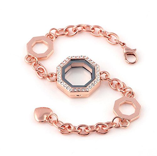 ine's Day Gift Retro Stainless Steel Rhinestone Living Memory Polygon Photo Box Bracelet Set Glass Lock Photo Frame Bracelet Set Floating Locket Charms Bracelet Set Geometric Shape Pendant (Rose Gold) ()