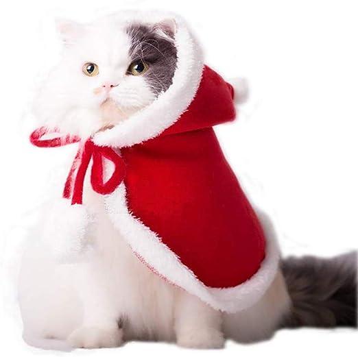 Vikedi Disfraz de Navidad para gatos, mascotas, gatos, Navidad, Papá Noel, disfraz, con sombrero, disfraz de gato, capa, ropa de Navidad, fiesta, vestidos para mascotas, para gatos y perros pequeños: Amazon.es: Hogar