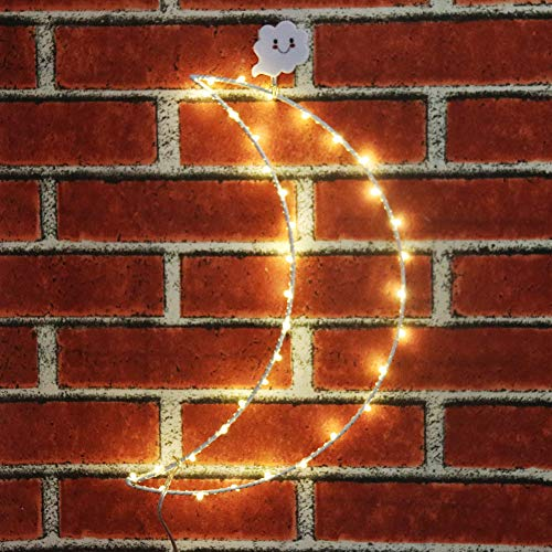 (Obrecis Solar Metal Moon Copper Light, Light up LED Twinkle Home Wall Decor for Christmas, Birthday Party, Bedroom, Indoor or Outdoor (Metal Moon))