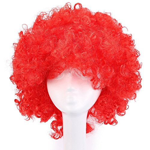 MapofBeauty 35cm Fashion Holiday Fluffy Funny Show Clown Wig (Red)