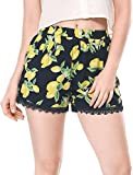 Allegra K Women's Allover Printed Lace Trim Elastic Waist Summer Shorts Black-Lemon XL (US 18)