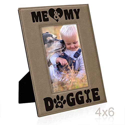 (Kate Posh - Me & My Doggie Engraved Leather Picture Frame - Dog Lover, Puppy and Baby Gifts. My Best Friend, Dog Mom (4x6-Vertical))
