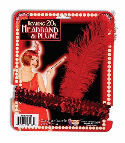 Red Sequin Flapper Costume Headband (Roaring Twenties Mens Fashion)