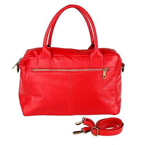 Fabriqué cuir véritable à Borse Cm Sac Rouge avec femme main en en Italie bracelet 36x26x15 Chicca xdB88YU0n