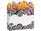 Pack Of 250, Bohemian Swirls Recycled Paper Bags W/White Paper Twist Handles - Vogue 16 X 6 X 13'' Made In USA