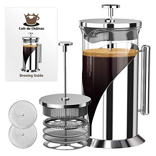 Hand Glass Pressed - French Press Coffee Maker (8 cup, 34 oz) With 4 Level Filtration System, 304 Grade Stainless Steel, Heat Resistant Borosilicate Glass by Cafe Du Chateau