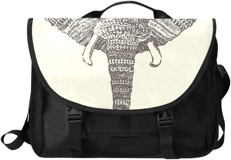 Travel Shoulder Bag Black and White Retro Elephant Multi-Functional Large Satchel Handbags Fit for 15 Inch Computer Notebook MacBook