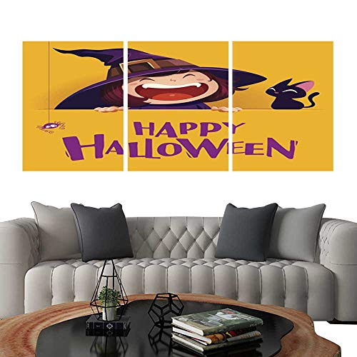 UHOO Canvas Print Wall Art Happy Halloween Little Witch with Big Signboard Yellow Background Art Stickers 24