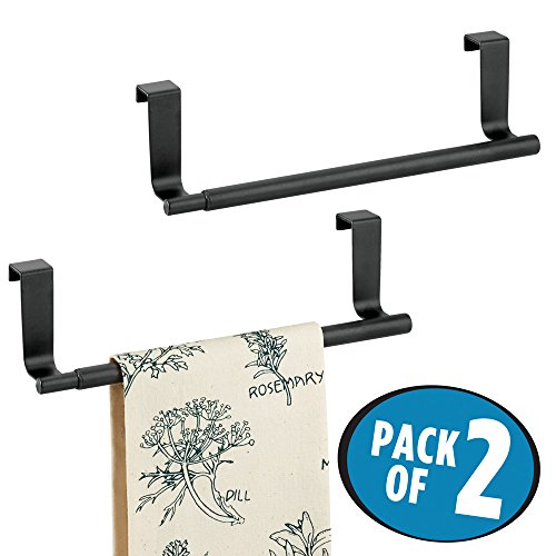 Dish 2 Kitchen Towels (mDesign Over-the-Cabinet Expandable Kitchen Dish Towel Bar Holder - Pack of 2, Matte Black)
