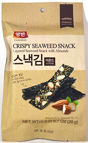 Dongwon Yangban Crispy Layered Seaweed Snack with Almonds 0.7oz (Pack of 6)