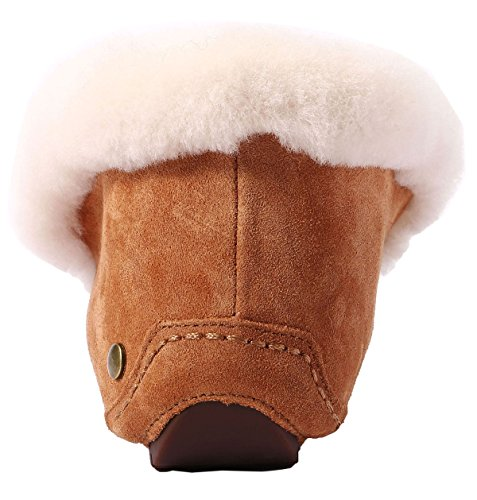 U-lite Vrouwen Warme Vacht Wol Slipper Ongedwongen Winter Slappe Platte Indoor & Outdoor Loafer, Wol Slippers Voor Vrouwen Kastanje