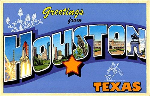 American Vinyl Greetings from Houston Sticker (Vintage Post Card Design -