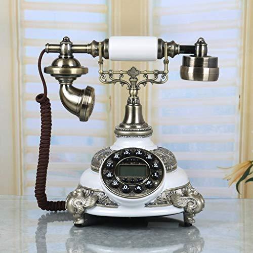 Speakerphone Hotel 2 Line (19-Yiruculture Home Wired Telephone Retro Phone with Rotary dial Phone European Resin Phone Retro Fashion Creative Key Home landline Telephone landline (Color : A))