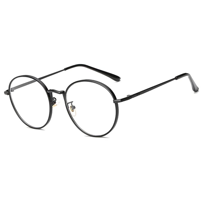 44c7225d9666 MagiDeal Mens Women Use Lightweight Durable Oversized Classic Vintage Retro  Style Round Clear Lens Optical Eyeglasses Frame Black  Amazon.in  Clothing    ...