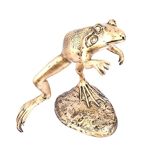 Indianshelf Handmade Brass Spitting Leaping Frog Cast Garden Fountain Statues Decoration Designer Vintage Statement Pieces Online New