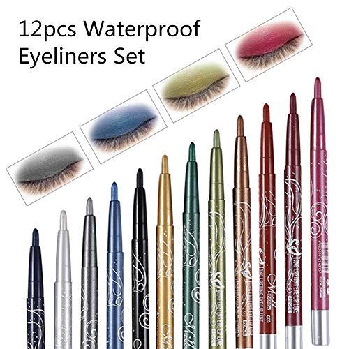 Waterproof Eyeliner, 12 Colors Eyeliner Eyeshadow Pencil Eye Shadow Pen Lip Liner, Professional Long-Lasting Milti-Functional Cosmetics Makeup Tool