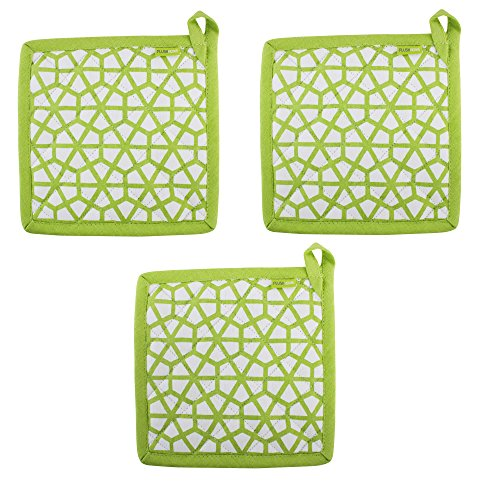 """- Set of 3 Pot Holders, 100% Cotton of Size 8""""X8 Inch, Eco-Friendly & Safe, Green, The Hive in Lime Design for Kitchen"""