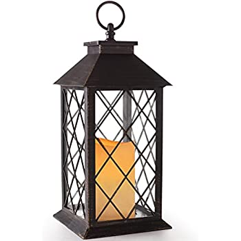 "BRIGHT ZEAL 14"" TALL Vintage Candle Lantern with LED Flickering Flameless Candles and Timer (Distressed BRONZE) - LED Candle Lanterns Decorative - Candles & Holders - Indoor Outdoor Hanging Lights"