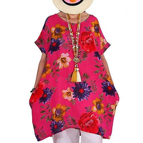 Tantisy ♣↭♣ Women's Retro Short Sleeve Boat-Neck Floral Print A Line Flare Swing Midi Party Dress/Plus Size S-XXXXXL Hot Pink