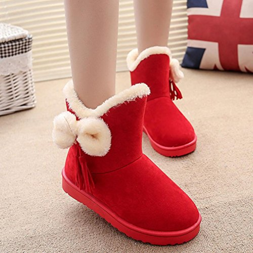 Warm Shoes TM Red Women Bowknot Snow Boots Boots Ankle Winter AMA Flat xBvIqUww