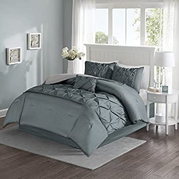 Comfort Spaces – Cavoy Comforter Set - 5 Piece – Tufted Pattern – Gray Texture Print – King size, Includes 1 Comforter, 2 Shams, 1 Decorative Pillow, 1 Bed Skirt