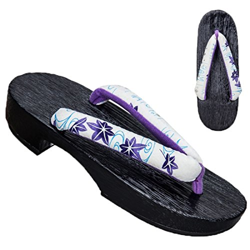 Ez-sofei Womens Japanese Shoes Wooden Geta Clogs White Maple Leaf(black Sole) usFNyA3Wa