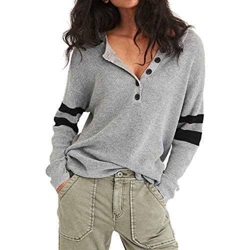 Keliay Bargain Women Casual Long Sleeve Sweater Pullover V Neck Button Tops Blouse
