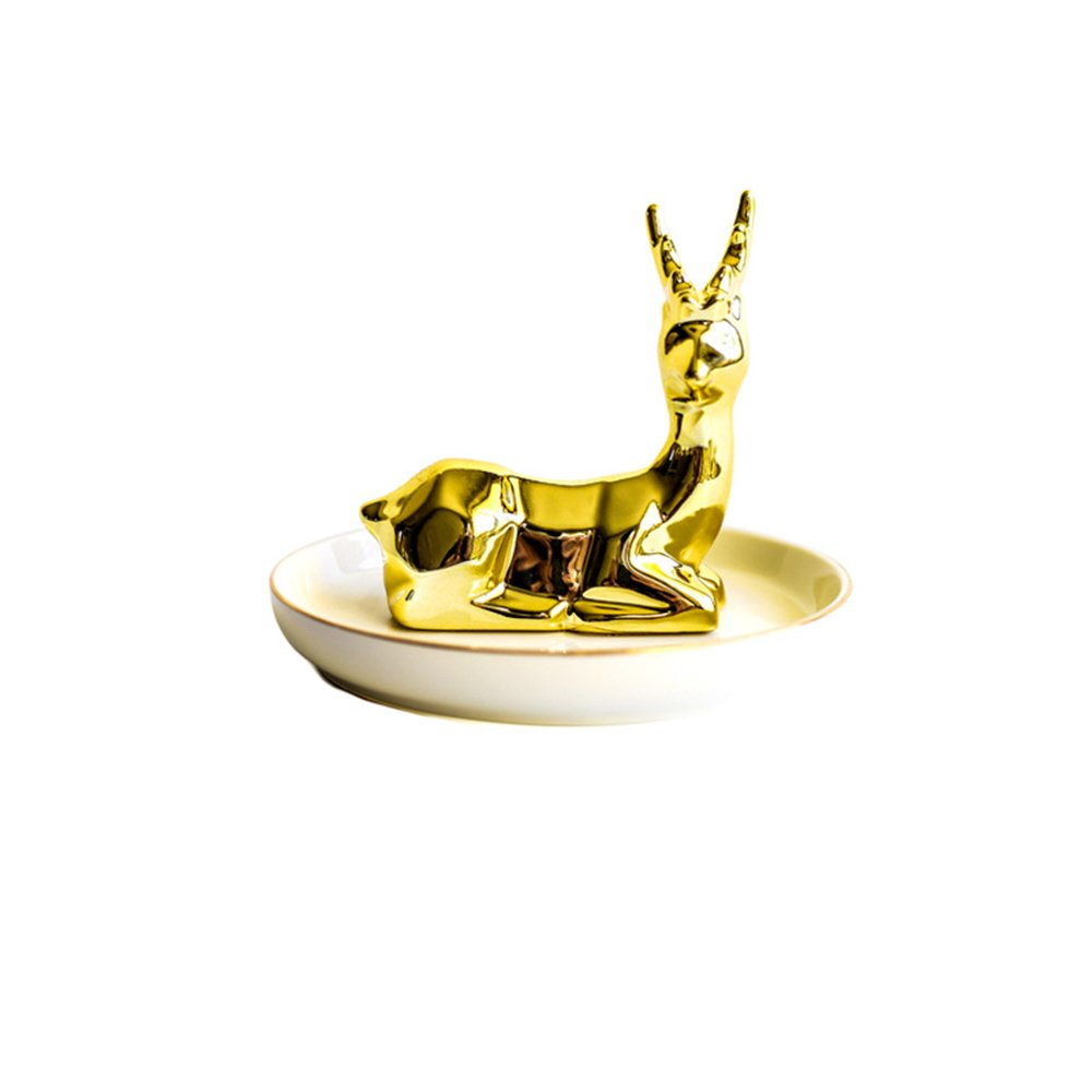 Colias Wing Home Decoration Desk Ornaments-Lovely Animal Golden Deer Stylish Design Ceramic Trinkets Tray Necklace Earrings Rings Stand Display Organizer Holder Jewelry Holder Decor Dish Plate