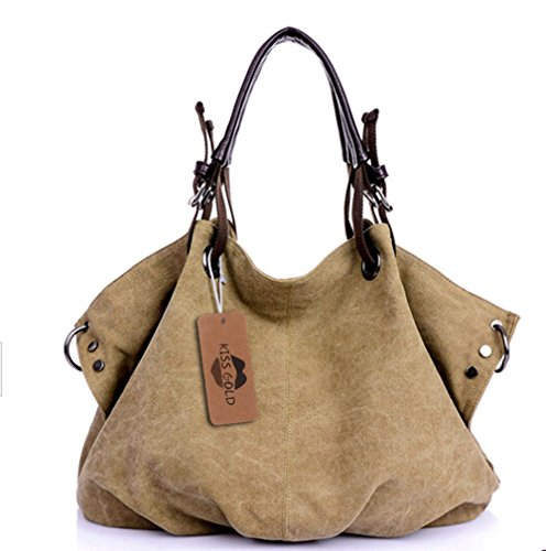 KISS GOLD(TM) European Style Canvas Large Tote Top Handle Bag Shopping Hobo Shoulder Bag, Size 22 '' X6.3'' X 14.2 ''(Khaki)