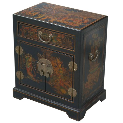 EXP Handmade Oriental Furniture Antique Style End/Accent Table, 20-Inch, Tang Dynasty, Black (Display Cabinet Asian)