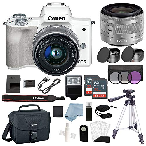 Canon EOS M50 Mirrorless Digital Camera  With 15–45mm f/3.