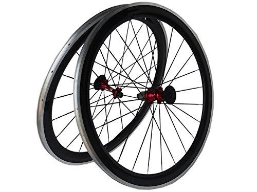 Flyxii 3 Kカーボンロードバイク自転車クリンチャーホイールセット50 mmホイールリム( with合金側スポークレッドハブfor Shimano 8 / 9 / 10 / 11s B01H299BCY